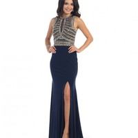 Navy Blue Sexy Fitted Sheer Embellished Long Dress 2016 Prom Dresses | Unique Prom