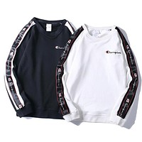 Champion New fashion bust side embroidery letter sleeve string mark print long sleeve top sweater