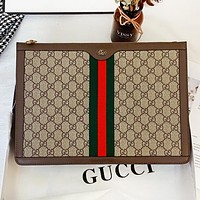 GUCCI New fashion stripe more letter print leather handbag cosmetic bag package bag