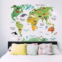 Colorful & Black Wallpaper Animal World Map Wall Stickers Decal Children Home Decals Nursery Posters for Home Decoration