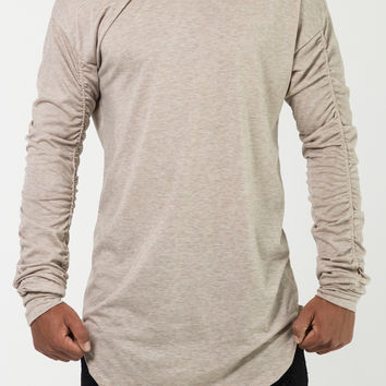 The Dyson Ruched Long Tee in Heather Khaki