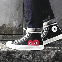 Vogew Comme Des Garçon Play x Converse Popular Women Men Casual Flat Canvas Shoes Sneakers