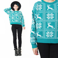 Vintage Christmas Sweater Teal Green Snowflake Reindeer Sweater 1980s Ski Sweater Slouchy Knit Pullover Womens Winter Holiday Jumper (S/M)
