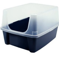 Open Top Cat Litter Box with Shield