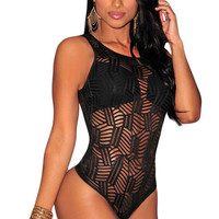 Black Sheer Textured Lace Bodysuit