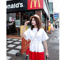 Hit color stitching short-sleeved dress