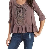 TIE FRONT PEASANT TOP WITH LACE & RUFFLES