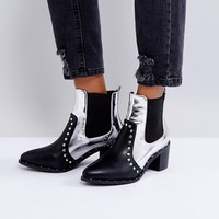 PrettyLittleThing Studded Detail Metallic Boot at asos.com