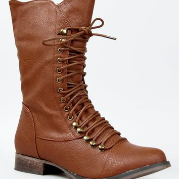 Breckelle's GEORGIA-84 / 24 / 34 Women Military Style Lace Up Mid Calf Combat Fighting Boot,Georgia Beige-34 6.5