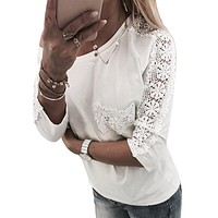 Elegant Floral Lace Night Sleeve Women Blouse Tops Crew Collar Loose Shirts With Pockets Ladies Blusa Feminina Hot Sale Spring