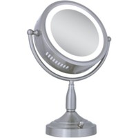 Zadro 8X-1X Satin Nickel Lighted Round Vanity Mirror