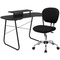 Black Computer Desk with Monitor Stand and Mesh Chair
