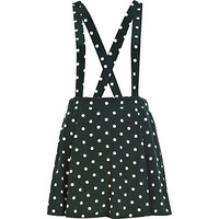 River Island Womens Green polka dot dungaree skater skirt