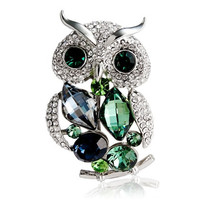 NEOGLORY Crystal Decorated Owl Design Brooch