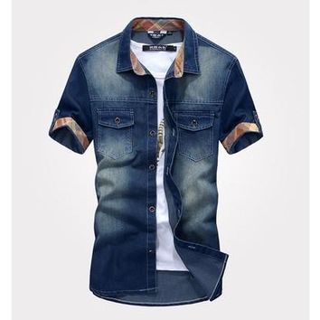 New fashion Men's Jeans Casual Slim Fit Stylish Wash-Vintage Denim Shirts Vintage Blue [9305912711]