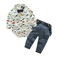 Baby Boys Clothing Set born Baby Clothing infant clothes Dinosaurs Printed Cotton Long Sleeve rompers+trousers