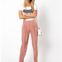 Asos Curve | Pink Pants with Soft Pleat Front | Lyst