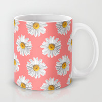 Daisies & Peaches - Daisy Pattern on Pink Mug by Tangerine-Tane