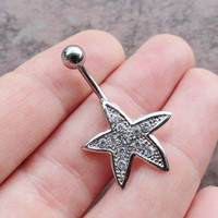 Silver Crystal Starfish Belly Button Jewelry Crystal Sparkle Belly Ring