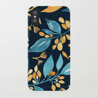 Teal and Golden Floral iPhone Case by noondaydesign
