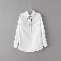 White Tie-Neck Long-Sleeve Button-Up Collared Shirt