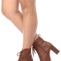 Tan Faux Leather Lace Up Chunky Peep Toe Booties
