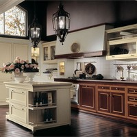Lacquered cherry wood kitchen with island IL CANTO DEL FUOCO Classic Kitchen Collection by Martini Mobili