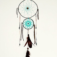 turquoise, brown dream catcher, boho, crochet doily, wall hanging, lace dreamcatcher, large, bedroom, wooden beaded, nature