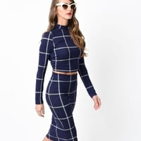 Retro Style Navy Plaid High Waist Fitted Pencil Skirt