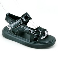Women's Black Sport Sandal with Hook and Loop Strap