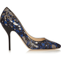 Jimmy Choo - Mitchel metallic lace-covered suede pumps