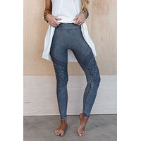 Highwaisted Moto Legging - Silver