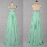 Sweetheart Sleeveless Floor-length Chiffon Prom Dresses With Paillette Beadings from prom 2013