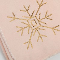 Sequined Snowflake Plush Blanket