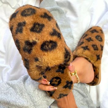 LV Inspired Fur Slippers