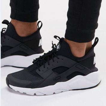 """NIKE""AIR Huarache Running Sport Casual Shoes Sneakers Black(white soles)"