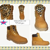 Custom Cheetah Spiked Timberland w Gold Chain