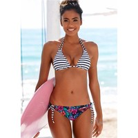 sporlike 2018 Sexy Bikinis Women Swimsuit Swimwear Halter Top Plaid Brazillian Bikini Set Bathing Suit Summer Beach Wear Biquini