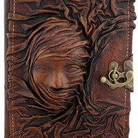 3D Scarfed Woman Sculpture Brown Leather Bound Journal / Notebook / Diary