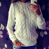 Womens Beautiful Knit Pattern Pullover Sweater