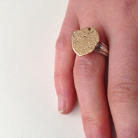 Gold Stone Ring - Recycled Ring - Rock - Pebble - Organic Texture - Made to order in your size
