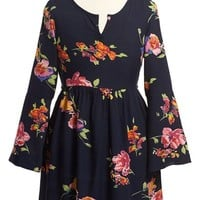 Girl's Band of Gypsies Bell Sleeve Floral Print Dress,