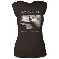 Joy Division Vintage Album Cover Artwork T-shirt - Love Will Tear Us Apart Song Single | Women's Black Sleeveless Shirt