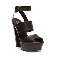Block Heel Sandals | Black & Tan | Steve Madden DEZZY