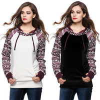 [2 COLORS] 2015 NEW Arrival Fashion Tribal Bottoming Pocket Long-sleeved Hooded Sweater Winter Coat