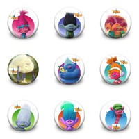 New Arrival 90pcs/lot Trolls Pins Buttons Badges Round Badges fashion Bags parts accessories Party children Gifts