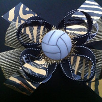 Black & Gold Volleyball Hair Bow