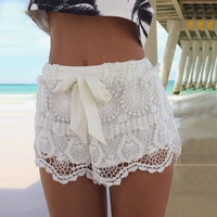 White or Teal Crochet Lace Shorts with Bow
