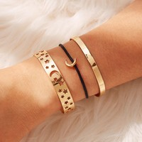 Star & Moon Detail Bracelet Set 3pcs