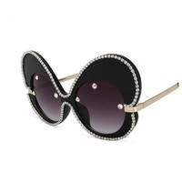 Womens Fashion Oversized Butterfly Luxury Designer Rhinestones Big Frame Sunglasses